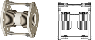 Double hinged expansion joint with flanges