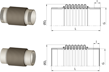 Axial expansion joints<br />with threaded ends