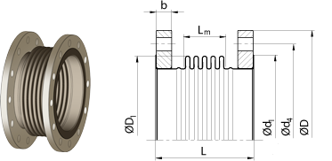Axial expansion joints<br />with flanges for exhaust gases