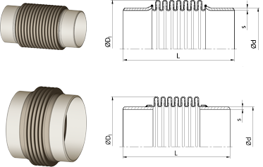 Axial expansion joints<br />with pipe ends